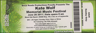 Ticket Kate Wolf Memorial Music Festival 26June2011