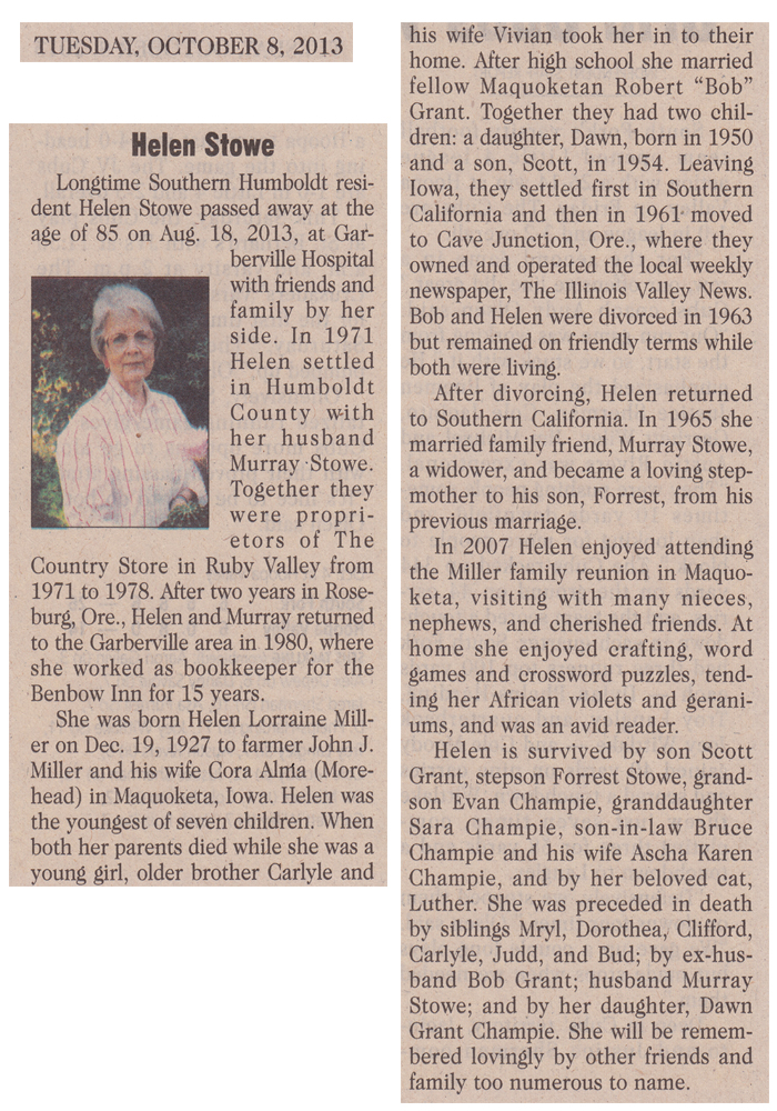 Helen Stowe's  Obituary